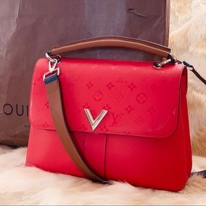 LOUIS VUITTON Very One handle bag with strap red